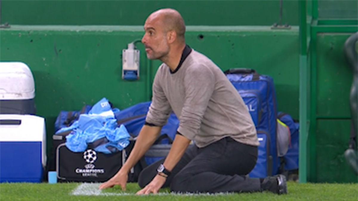No se lo puede creer: la reacción de Guardiola tras el fallo de Laporte y el gol del Lyon