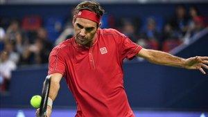 Roger Federer, durante el torneo de Tokio