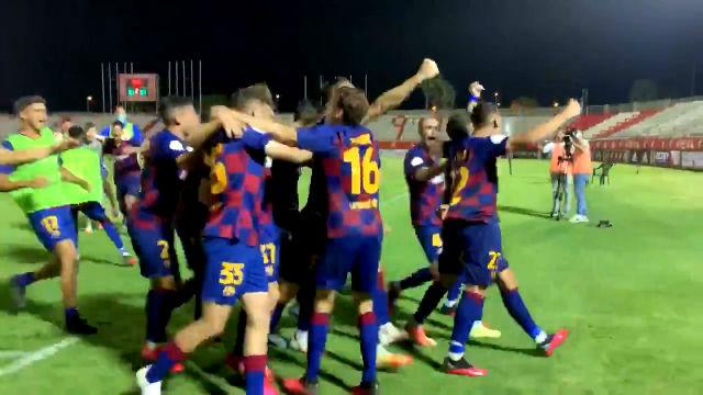 Así ha sido la celebración del Barça B tras vencer al Badajoz