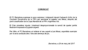 Este es el comunicado emitido por el FC Barcelona este miércoles en defensa a Leo Messi