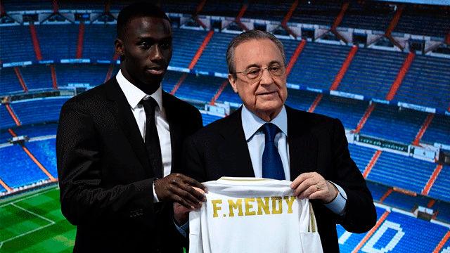 Florentino presentó a Mendy en el palco del Bernabéu