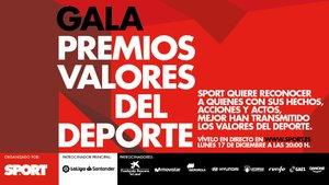 La Gala Premios Valores del Deporte se celebrará el 17 de diciembre