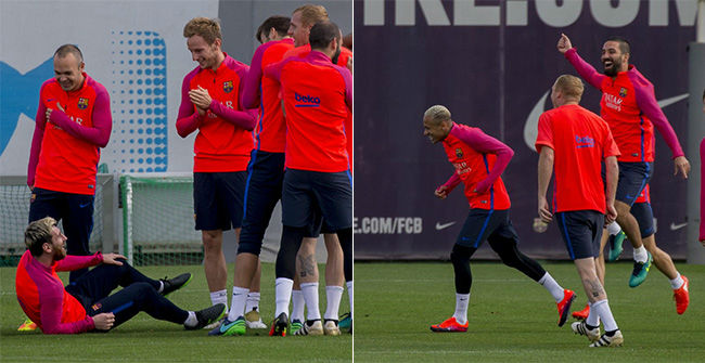 El impresionante rondo entre el tridente y sus compañeros del Barça