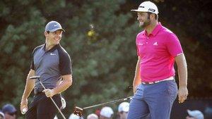 McIlroy y Rahm, en una jornada de entrenamiento en el The Players
