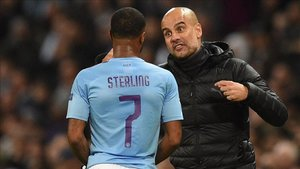 Pep Guardiola elogió a un Sterling que firmó un nat-trick ante el Atalanta