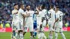 El Real Madrid festeja uno de los goles anotados al Melilla