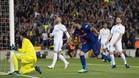 Suárez celebra el primer gol del partido