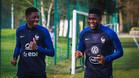Umtiti y Dembélé, entrenando con la selección francesa