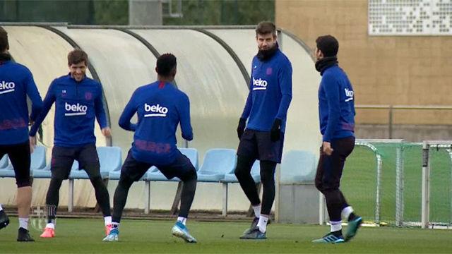 El Barça se ejercita sin los seleccionados en el último entrenamiento de la semana