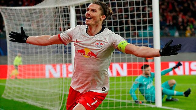 El doblete de Sabitzer que mete en la historia de la Champions al Leipzig