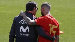 Lopetegui y Ramos, durante concentración de la selección