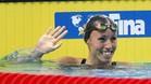 La nadadora del Sant Andreu, contenta tras imponerse en su serie
