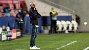 Quique Setién fue el entrenador del Barça en la primera temporada en blanco de los blaugranas desde 2014