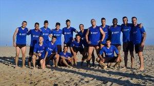El Barça se entrenó en la playa de Castelldefels