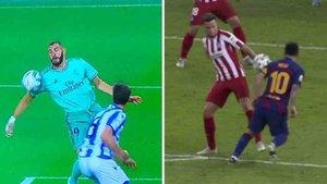 Dos imágenes de Benzema y Messi con resultados diferentes para el VAR