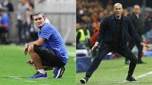 Ernesto Valverde, técnico del FC Barcelona, y Zinedine Zidane, entrenador del Real Madrid