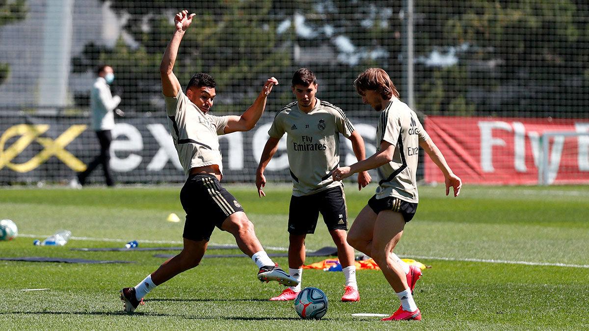 Fútbol en estado puro en el entrenamiento del Real Madrid