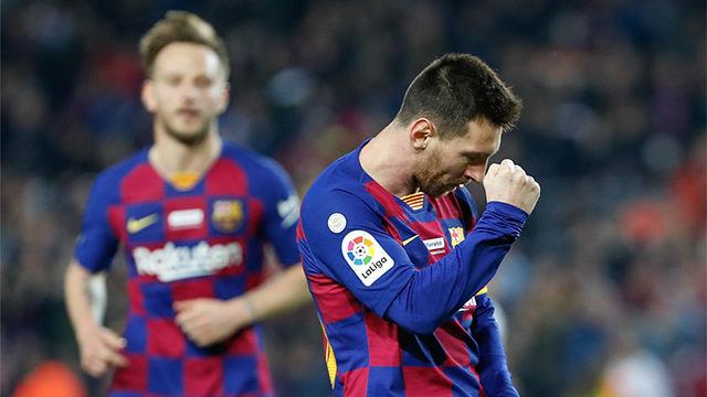 Golazo por la escuadra de Messi para redondear la goleada y marcar el hat-trick