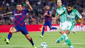 Jordi Alba y Fekir, autores del 4-1 y del 0-1 en el Barça - Betis