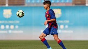 Juan Larios, con el Juvenil B del FC Barcelona esta temporada