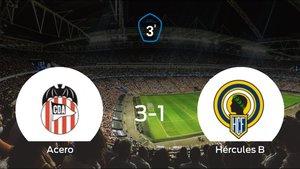 Los tres puntos se quedan en casa tras el triunfo del Acero ante el Hércules de Alicante B (3-1)