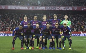 Sevilla FC, 2 - FC Barcelona, 0, alineación del Barça en el partido.