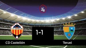 El Teruel consigue un empate a uno ante el Castellón