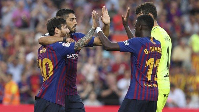 Messi, Suárez y Dembélé, el tridente ya carbura