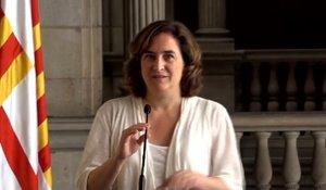 Ada Colau, en la presentación del acuerdo de Gobierno de Barcelona