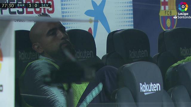 La cara de Arturo Vidal durante el partido ante el Sevilla