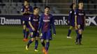 La derrota ante el Huesca fue un mazazo para los futbolistas del filial azulgrana