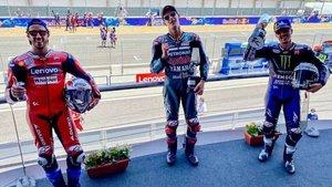 Dovizioso, Quartararo y Viñales, en el podio de Jerez