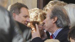 El hijo de Josep Lluís Núñez, a la salida del funeral