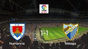 El Numancia se enfrentó al Málaga y ha empatado por 1-1