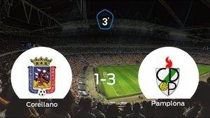 El Pamplona vence 1-3 en el estadio del Corellano