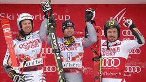 Pinturault junto a Luitz y Hirscher en el podio del gigante de Val dIsere