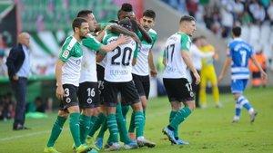 El Racing de Santander celebrando un gol