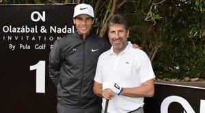 Rafa Nadal junto a Txema Olazábal en el torneo benéfico en Pula