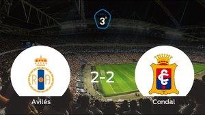 El Real Avilésy el Condalse reparten los puntos en el Román Suárez Puerta (2-2)