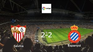 Sevilla and Espanyol ended the game with a 2-2 draw at Ramon Sanchez Pizjuan