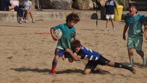 Todo preparaado paara el X Torneig Rugby Platja, Ciutat de Barcelona, Mercè 19