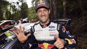 Ogier, celebrando el sexto título mundial consecutivo en Australia