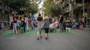 Actividades infantiles en plena calle, en la pasada edición de la Semana Europea de la Movilidad, en Barcelona