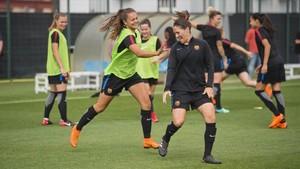 El buen humor presidió el entrenamiento previo a a la semifinal de la Copa de la Reina