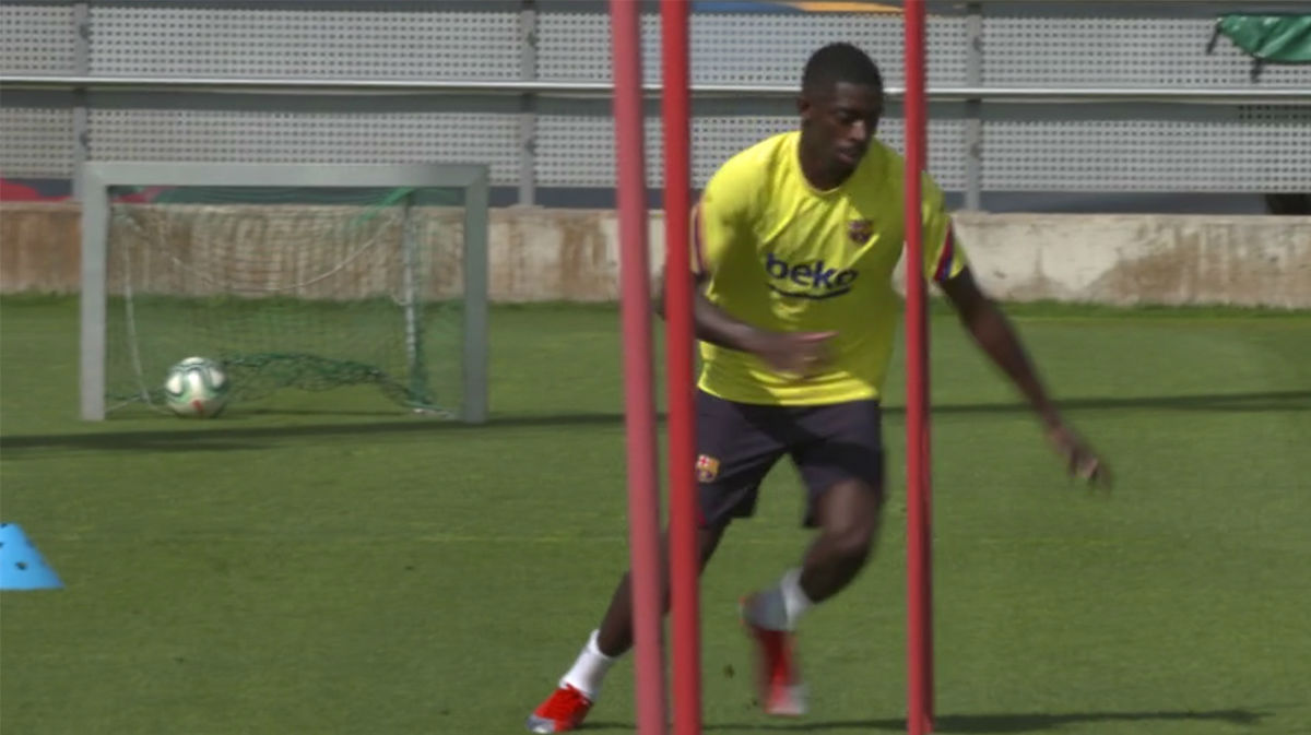 Dembélé acelera en su recuperación en la Ciutat Esportiva