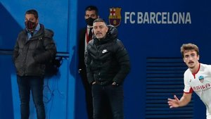 García Pimienta, durante el partido que el Barça B le ganó al Lleida