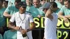 Hamilton y Rosberg, en la celebración de Mercedes