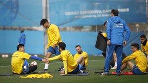 Jugadores del Espanyol entrenando