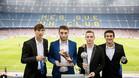 Miranda, Abel, Sergio y Mateu con el Camp Nou, su gran sueño, de fondo