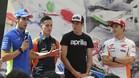Rins, los hermanos Espargaró y Márquez, en el acto de presentación del GP de Catalunya